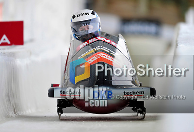 17 December 2010:  Stefanie Szczurek pilots her 2-man bobsled for Germany, finishing 12th for the day at the Viessmann FIBT World Cup Bobsled Championships in Lake Placid, New York, USA. The event was a Make-up Race from the previous week at Park City where the Women's Bobsled had to be cancelled due to severe snow conditions. Mandatory Credit: Ed Wolfstein Photo