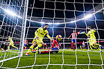 Lionel Messi of FC Barcelona (L) runs for celebrates FC Barcelona score during the La Liga 2018-19 match between Atletico Madrid and FC Barcelona at Wanda Metropolitano on November 24 2018 in Madrid, Spain. Photo by Diego Souto / Power Sport Images
