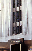 Los Angeles:  I. Magnin & Co., designed by Myron Hunt, 1939. Art Deco building of white marble and steel entrance.