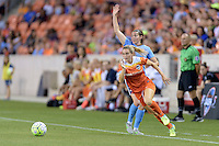 Houston, TX - Friday April 29, 2016: Kealia Ohai (7) of the Houston Dash races after a loose ball against Sky Blue FC at BBVA Compass Stadium. The Houston Dash tied Sky Blue FC 0-0.