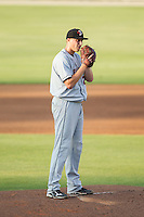 Delmarva Shorebirds starting pitcher Mitch Horacek (27) looks to his catcher for the sign against the Kannapolis Intimidators at CMC-NorthEast Stadium on July 1, 2014 in Kannapolis, North Carolina.  The Intimidators defeated the Shorebirds 5-2. (Brian Westerholt/Four Seam Images)