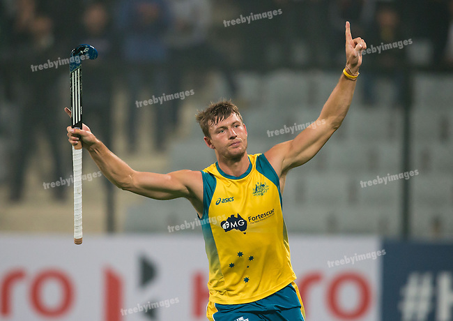 Mens Hockey World league Final Delhi 2014<br /> Day 4, 15-01-2014<br /> Australia v India<br /> Nicholas Budgeon<br /> Photo: Grant Treeby / treebyimages