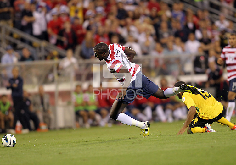COLUMBUS, OHIO - SEPTEMBER 11, 2012:  Jozy Altidore (17) of the USA MNT is tripped by Adrian Mariappa (19) of  Jamaica during a CONCACAF 2014 World Cup qualifying  match at Crew Stadium, in Columbus, Ohio on September 11. USA won 1-0.