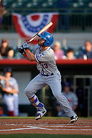 St. Lucie Mets designated hitter Anthony Dimino (13) follows through on a swing during a game against the Florida Fire Frogs on April 19, 2018 at Osceola County Stadium in Kissimmee, Florida.  St. Lucie defeated Florida 3-2.  (Mike Janes/Four Seam Images)