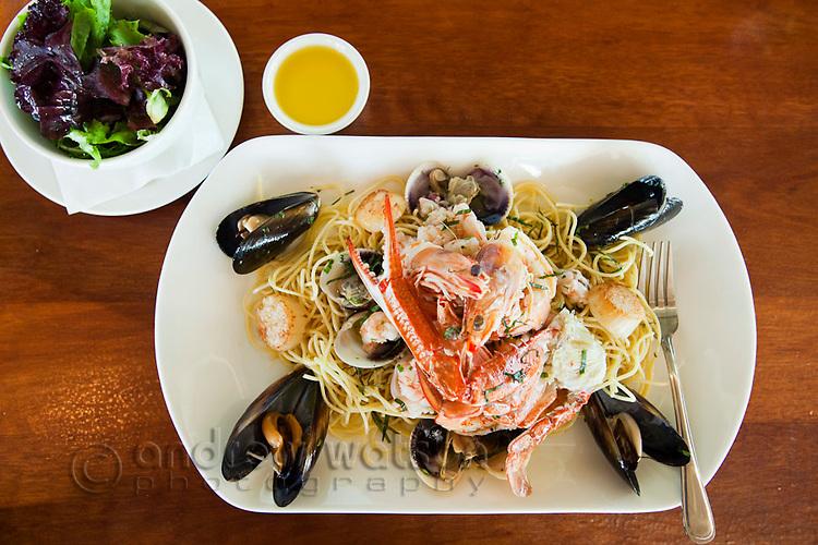 Spaghetti allo Scoglio (seafood pasta) at Villa Romana Trattoria.  Esplanade, Cairns, Queensland, Australia