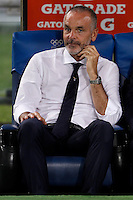 Calcio, Serie A: Lazio vs Bologna. Roma, stadio Olimpico, 22 agosto 2015.<br /> Lazio coach Stefano Pioli sits on the bench during the Italian Serie A football match between Lazio and Bologna at Rome's Olympic stadium, 22 August 2015.<br /> UPDATE IMAGES PRESS/Isabella Bonotto