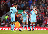 Burnley's Andre Gray looks dejected after Liverpool's Emre Can scored his sides second goal <br /> <br /> Photographer Rich Linley/CameraSport<br /> <br /> The Premier League - Liverpool v Burnley - Sunday 12 March 2017 - Anfield - Liverpool<br /> <br /> World Copyright &copy; 2017 CameraSport. All rights reserved. 43 Linden Ave. Countesthorpe. Leicester. England. LE8 5PG - Tel: +44 (0) 116 277 4147 - admin@camerasport.com - www.camerasport.com
