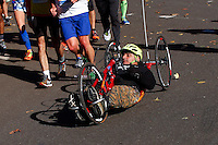 New York City, NY. 02 November 2014.A competitor attends the 29th New York City Marathon as he arrives to Central park.