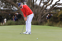 Dustin Johnson (USA) on the 10th green during the First Round - Four Ball of the Presidents Cup 2019, Royal Melbourne Golf Club, Melbourne, Victoria, Australia. 12/12/2019.<br /> Picture Thos Caffrey / Golffile.ie<br /> <br /> All photo usage must carry mandatory copyright credit (© Golffile | Thos Caffrey)