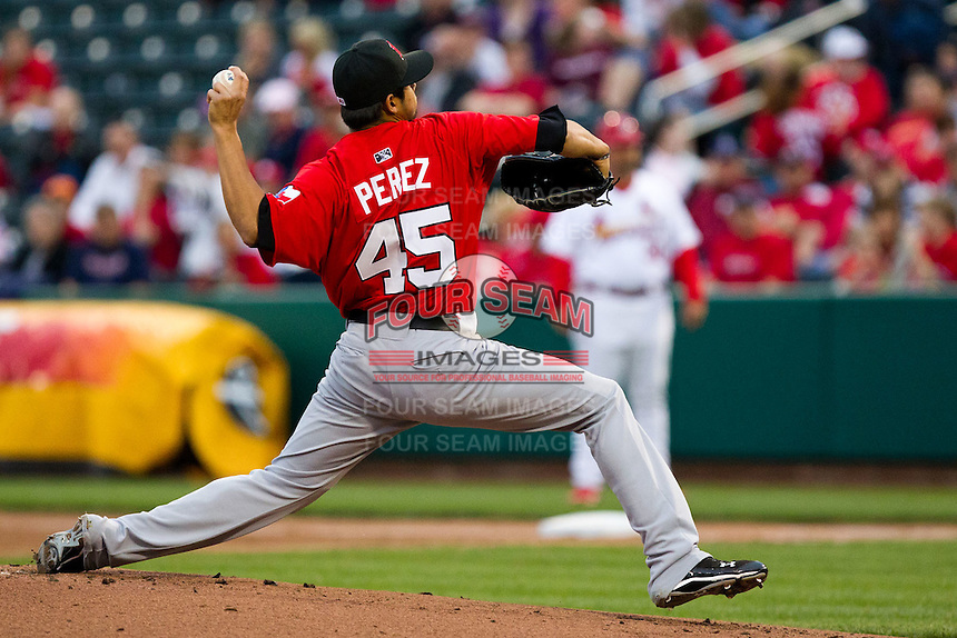 Martin Perez (45) of the Frisco RoughRiders throws a pitch during a game against the Springfield Cardinals on April 14, 2011 at Hammons Field in Springfield, Missouri.  Photo By David Welker/Four Seam Images.