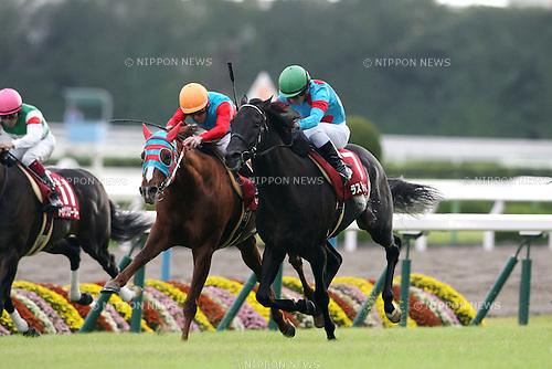 (L-R) Tamamo Best Play (Akihide Tsumura), Last Impact (Yuga Kawada),<br /> OCTOBER 14, 2014 - Horse Racing :<br /> Last Impact ridden by Yuga Kawada wins the Kyoto Daishoten at Kyoto Racecourse in Kyoto, Japan. (Photo by Eiichi Yamane/AFLO)