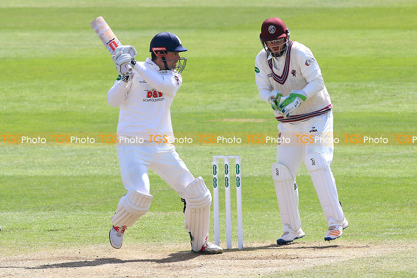 Alastair Cook hits out for Essex as Steven Davies looks on during Somerset CCC vs Essex CCC, Specsavers County Championship Division 1 Cricket at The Cooper Associates County Ground on 16th April 2017
