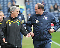 Preston North End's Manager Simon Grayson speaks to Norwich City's Manager Alan Irvine<br /> <br /> Photographer Mick Walker/CameraSport<br /> <br /> The EFL Sky Bet Championship - Preston North End v Norwich City - Monday 17th April 2017 - Deepdale - Preston<br /> <br /> World Copyright &copy; 2017 CameraSport. All rights reserved. 43 Linden Ave. Countesthorpe. Leicester. England. LE8 5PG - Tel: +44 (0) 116 277 4147 - admin@camerasport.com - www.camerasport.com