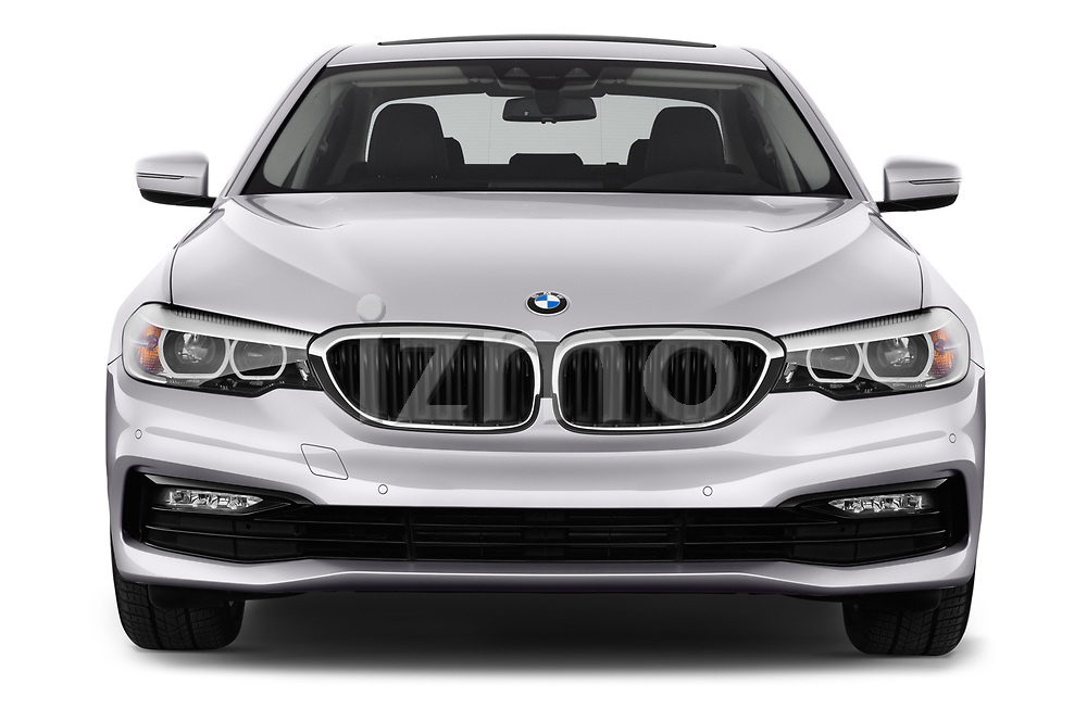 Car photography straight front view of a 2017 BMW 5-Series Sport 4 Door Sedan Front View