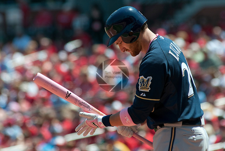 08 May 2011                              Milwaukee Brewers catcher Jonathan Lucroy (20) prepares to bat. The St. Louis Cardinals defeated the Milwaukee Brewers 3-1 on Sunday May 8, 2011 in the final game of a three-game series at Busch Stadium in downtown St. Louis.