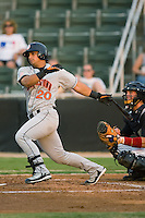 Hagerstown designated hitter Jhonathan Solano (20) follows through on his swing versus Kannapolis at Fieldcrest Cannon Stadium in Kannapolis, NC, Tuesday, August 14, 2007.