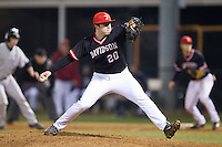 Davidson Wildcats relief pitcher Jip Richards (20) in action against the Wake Forest Demon Deacons at Wilson Field on March 19, 2014 in Davidson, North Carolina.  The Wildcats defeated the Demon Deacons 7-6.  (Brian Westerholt/Four Seam Images)