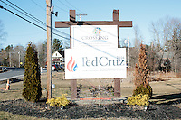 A campaign sign hangs on the church sign after Texas senator and Republican presidential candidate Ted Cruz spoke at a town hall at Crossing Life Church in Windham, New Hampshire, on Tues. Feb. 2, 2016. The day before, Cruz won the Iowa caucus.