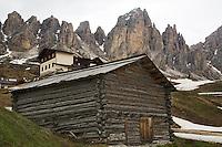 Log building, Gardena Pass, Dolomite Mountains, South Tyrol, Italy