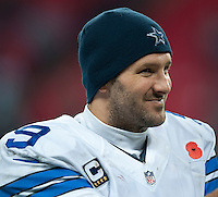 09.11.2014.  London, England.  NFL International Series. Jacksonville Jaguars versus Dallas Cowboys. Dallas Cowboys' Quarterback Tony Romo (#9)