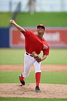 GCL Nationals starting pitcher Malvin Pena (37) delivers a warmup pitch during the second game of a doubleheader against the GCL Mets on July 22, 2017 at The Ballpark of the Palm Beaches in Palm Beach, Florida.  GCL Mets defeated the GCL Nationals 4-1.  (Mike Janes/Four Seam Images)