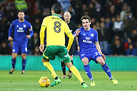 Mario Vrancic of Norwich City is marked by Craig Bryson of Cardiff City during the Sky Bet Championship match between Cardiff City and Norwich City at The Cardiff City Stadium, Wales, UK. Friday 01 December 2017