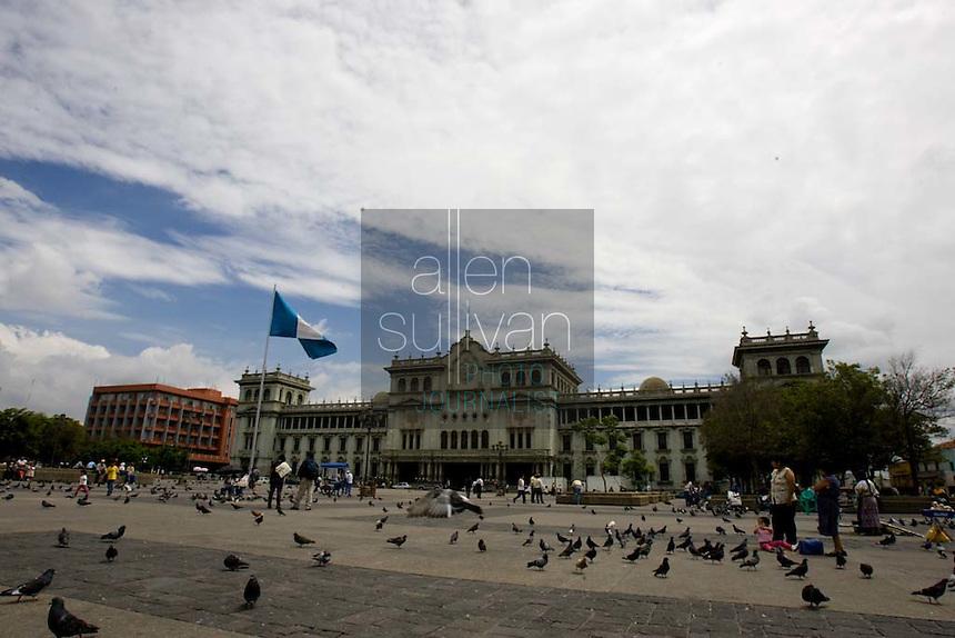 Plaza de la Constitucionalidad and the Palacio Nacional in Guatemala City, Guatemala.