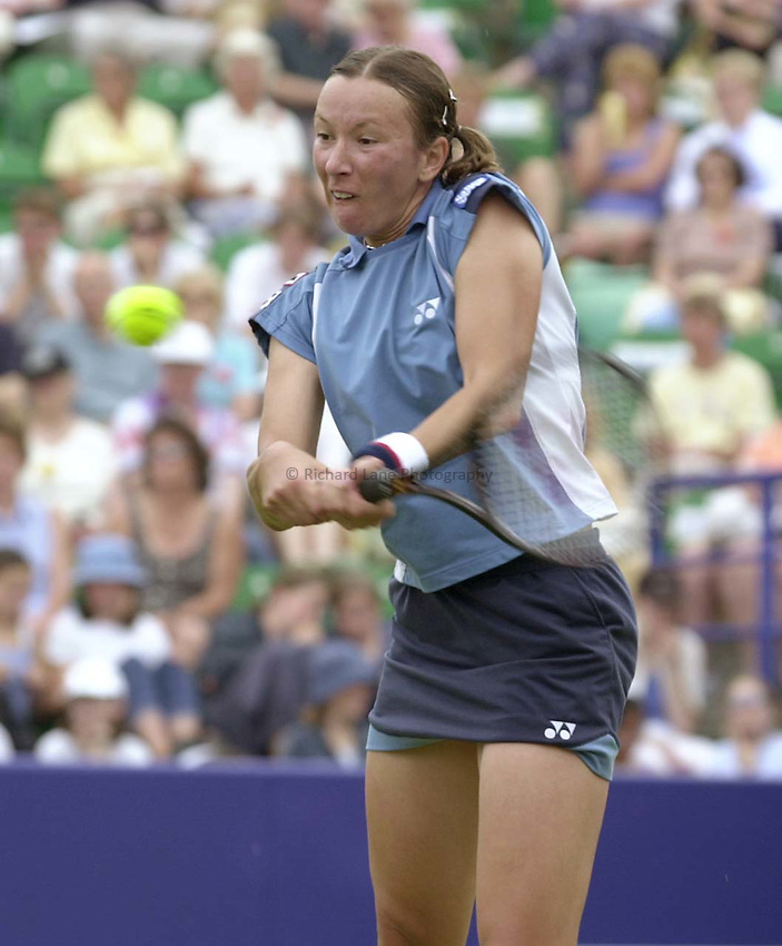 Photo. Richard Lane. .Direct Line International Ladies Tennis Championships, Eastbourne. 20/6/2000.Natasha Zvereva returns during her first round match against Lisa Raymond.