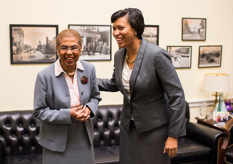 UNITED STATES - NOVEMBER 6: Mayor-Elect Muriel Bowser, D-DC, right, meets with Del. Eleanor Holmes Norton, D-DC, in Norton's Rayburn office at the Capitol on Thursday, Nov. 6, 2014. (Photo By Bill Clark/CQ Roll Call)