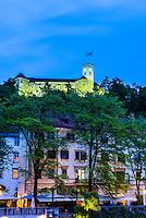 Ljubljana Castle (Ljubljanski Grad) in Ljubljana at night, Slovenia, Europe