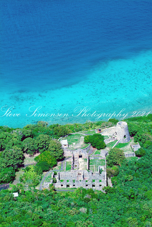 Aerial view of Annaberg Ruins on St John<br />