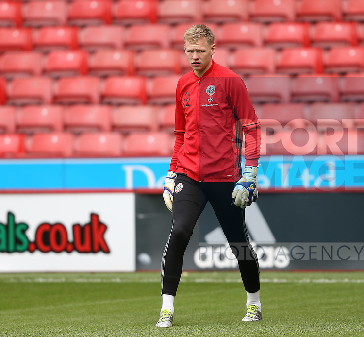 Aaron Ramsdale of Sheffield Utd warms up during the Emirates FA Cup Round One match at Bramall Lane Stadium, Sheffield. Picture date: November 6th, 2016. Pic Simon Bellis/Sportimage