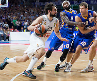 Real Madrid's Sergio Llull and Khimki Moscow's Tyrese Rice and Sergey Monya during Euroleague match at Barclaycard Center in Madrid. April 07, 2016. (ALTERPHOTOS/Borja B.Hojas) /NortePhoto