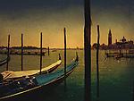 Gondolas moored in Venice, Italy