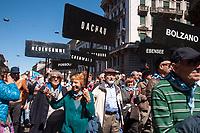Milano, 25 Aprile 2016, manifestazione per la festa della Liberazione dal nazifascismo. ANED Associazione Nazionale Ex Deportati nei campi di concentramento nazisti.<br /> Milan, April 25, 2016, demonstration for the Liberation Day. ANED National Association of Former Deportees in Nazi concentration camps