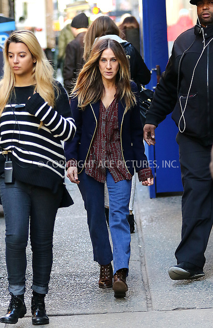 WWW.ACEPIXS.COM<br /> <br /> February 2 2016, New York City<br /> <br /> Actress Sarah Jessica Parker was on the set of the new TV show 'Divorce' on February 2 2016 in New York City<br /> <br /> By Line: Zelig Shaul/ACE Pictures<br /> <br /> <br /> ACE Pictures, Inc.<br /> tel: 646 769 0430<br /> Email: info@acepixs.com<br /> www.acepixs.com