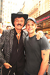 Village People's Randy Jones poses with Charlie Carver who stars in Broadway's The Boys in The Band at the Booth Theatre, New York City. (Photo by Sue Coflin/Max Photo)