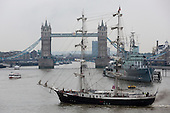 "London, UK. 4 September 2014. Pictured: Tall Ship ""Mercedes"", a 49.9m two-masted square rigged sailing ship from The Netherlands. On the eve of the Royal Greenwich Tall Ships Festival 2014, three Tall Ships entered the Pool of London via Tower Bridge."