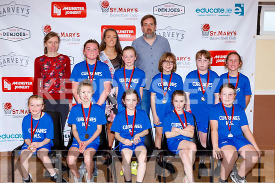 The  Curranes NS team that played Kilmurry NS in the  Junior NS Girls  final  at the St Marys Basketball Blitz on Monday front row l-r: Isabel Walmsley, Ella May Kirby, Coaimhe Reidy, Caoimhe O'Mahony, Back row: Emer Nelligan Principal, Emma Twomey, Ruby O'Connell, James O'Connell Coach, Grainne Courtney, Sarah Collins, Katie Griffin,