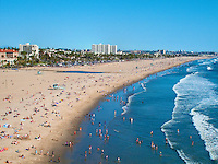 Santa Monica, CA,  Beach, Sunbathing, Swimming, Ocean Waves, Panorama