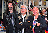 Uriah Heep <br /> The &quot;Bula Quo!&quot; UK film premiere, Odeon West End cinema, Leicester Square, London, England.<br /> July 1st, 2013<br /> half length black leather jacket goatee facial hair band group sunglasses shades hand fingers devil sign gesture <br /> CAP/BF<br /> &copy;Bob Fidgeon/Capital Pictures