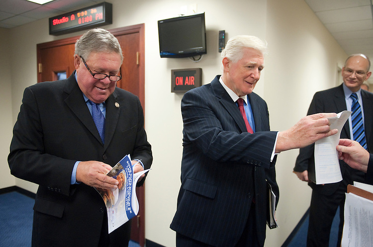 UNITED STATES - JULY 25: House Appropriations Committee ranking Democrat Rep. Norman Dicks, D-Wash., left, and Rep. James Moran, D-Va., wait for other members to arrive for their news conference on Monday, July 25, 2011, on H.R.2584, the FY2012 Interior, Environment and Related Agencies Appropriations Act. (Photo By Bill Clark/Roll Call)