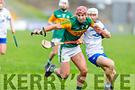 Fionan Mackessy of Kerry attempts to gain possession as Waterford's Mark O'Brien put in a challenge,  in the Munster Senior Hurling League in Austin Stack Park on Sunday