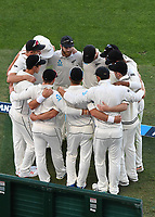 Kane Williamson and team mates in a huddle.<br /> New Zealand Blackcaps v England. 1st day/night test match. Eden Park, Auckland, New Zealand. Day 4, Sunday 25 March 2018. &copy; Copyright Photo: Andrew Cornaga / www.Photosport.nz