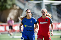 Seattle, WA - Saturday, August 26th, 2017: Lindsey Horan and Katlyn Johnson during a regular season National Women's Soccer League (NWSL) match between the Seattle Reign FC and the Portland Thorns FC at Memorial Stadium.