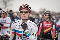 Katie Compton (USA/KFCracing) on the start grid in her Pan-American champion's jersey<br /> <br /> 2016 CX UCI World Cup Zeven (DEU)