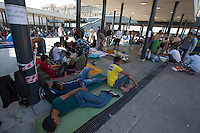 Illegal migrants in a transit zone at the main railway station Keleti in Budapest, Hungary on August 30, 2015. ATTILA VOLGYI
