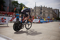 Christian Knees (DEU/SKY) off the start podium<br /> <br /> stage 17: Burgos-Burgos TT (38.7km)<br /> 2015 Vuelta &agrave; Espana