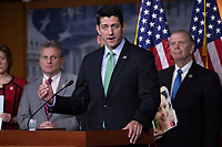Speaker of the House of Representatives Paul Ryan, Republican of Wisconsin, speaks during a post Republican Caucus meeting press conference on Capitol Hill in Washington, DC on June 13, 2018. Credit: Alex Edelman / CNP /MediaPunch