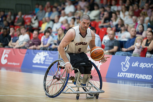 03.07.2016. Leicester Sports Arena, Leicester, England. Continental Clash Wheelchair Basketball, England versus Canada. Adam Lancia (CAN) dribbles the ball down the court